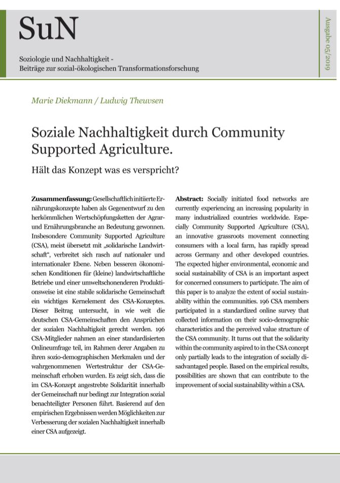 Titelbild Soziale Nachhaltigkeit durch Community Supported Agriculture