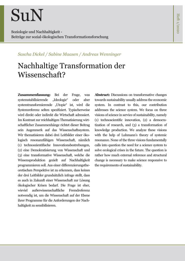 """Titelbild Ausgabe """"Nachhaltige Transformation der Wissenschaft?"""""""
