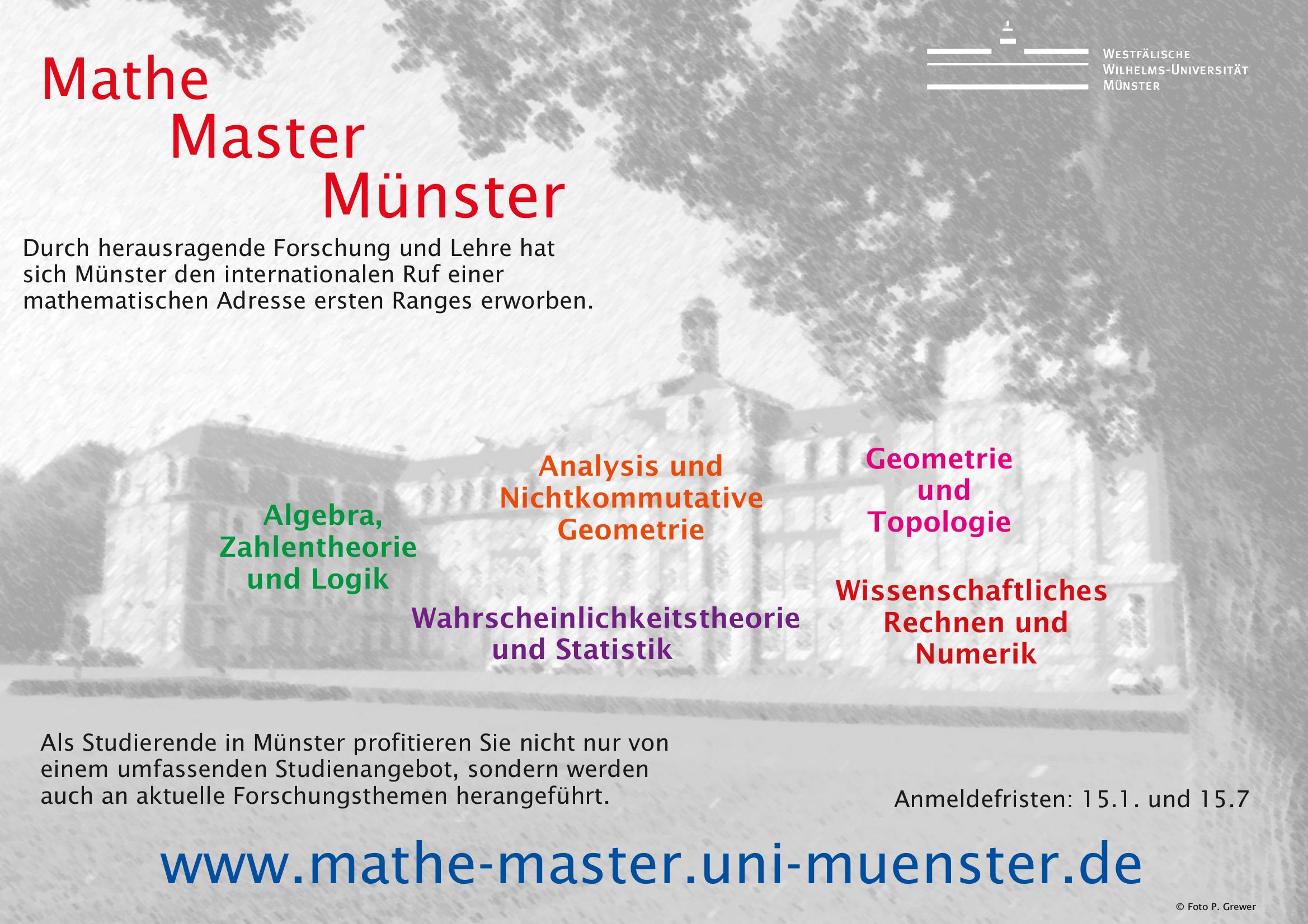 der masterstudiengang mathematik der wwu mnster bietet vielfltige spezialisierungsmglichkeiten in theoretischer und angewandter mathematik - Uni Munster Master Bewerbung