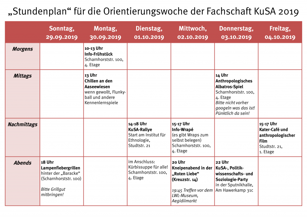 O-Wochenplan 2019