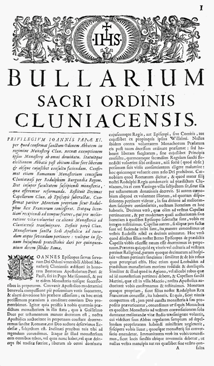 Bullarium Cluniacense p. 001     ⇒ Index privilegiorum