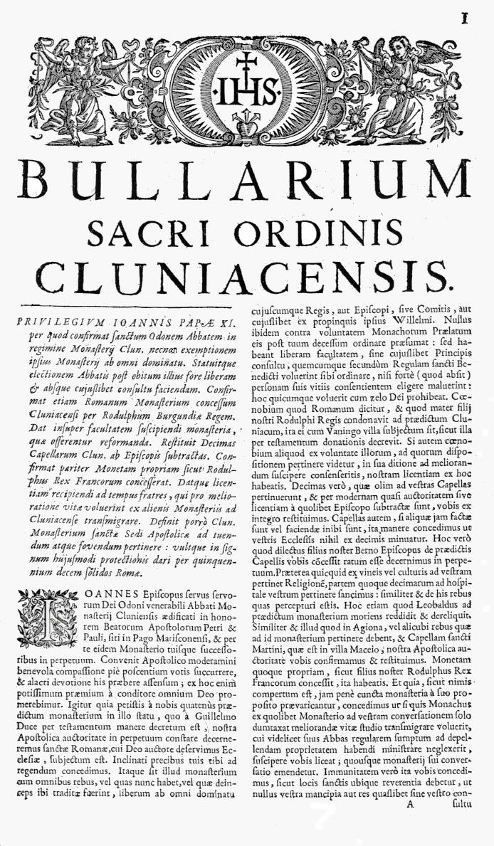 Bullarium Cluniacense p. 001   ⇒ Index privilegiorum