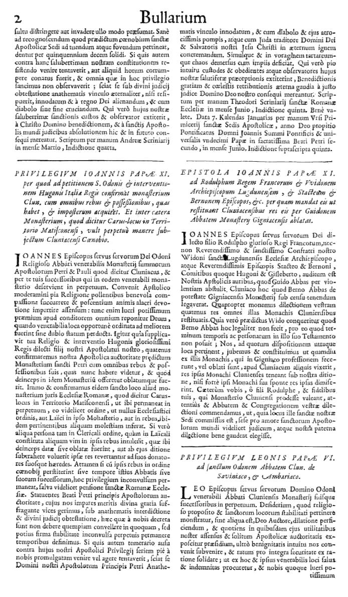 Bullarium Cluniacense p. 002   ⇒ Index privilegiorum