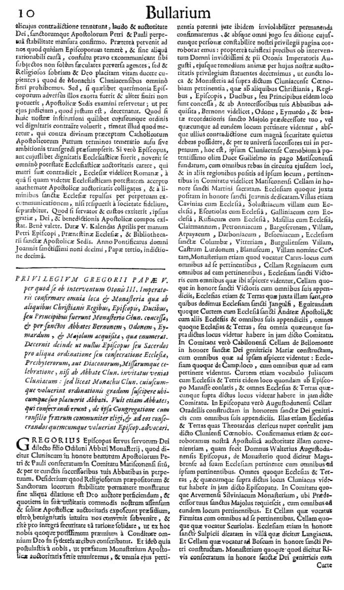 Bullarium Cluniacense p. 010   ⇒ Index privilegiorum