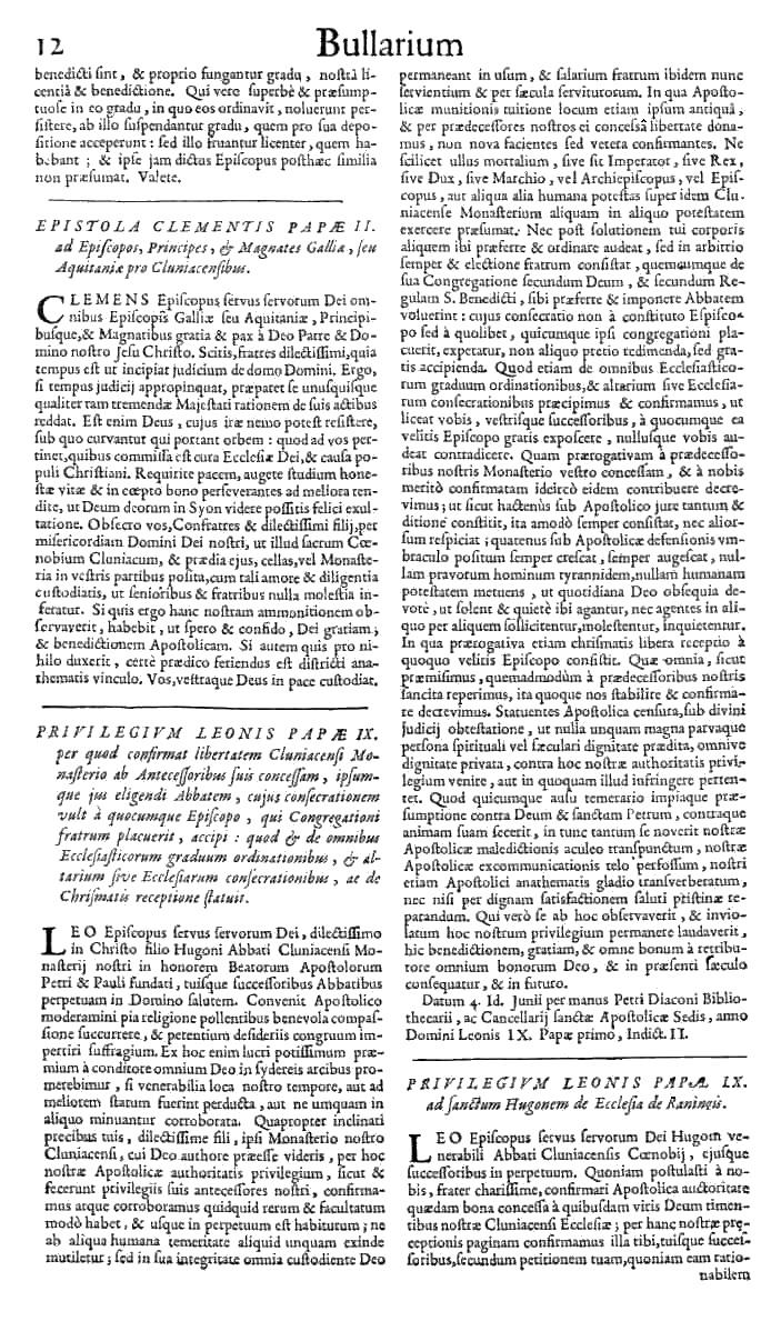 Bullarium Cluniacense p. 012   ⇒ Index privilegiorum