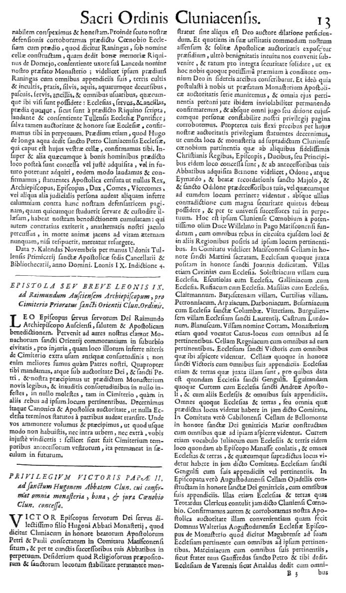 Bullarium Cluniacense p. 013   ⇒ Index privilegiorum
