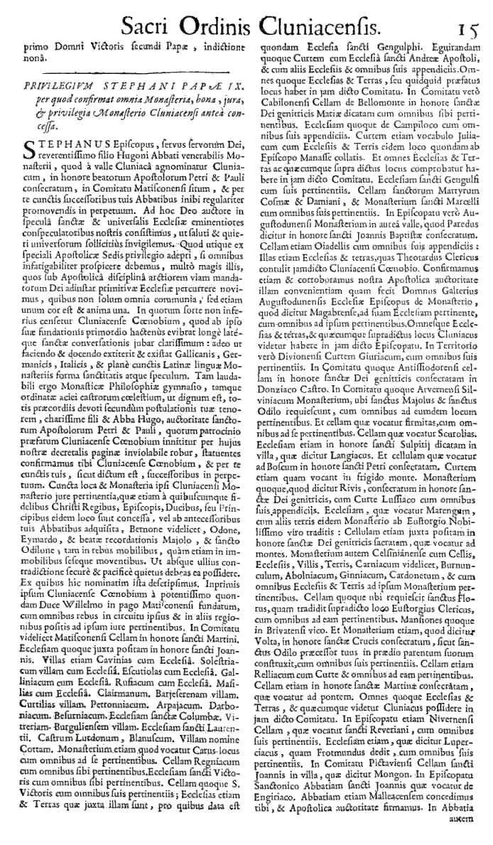 Bullarium Cluniacense p. 015   ⇒ Index privilegiorum
