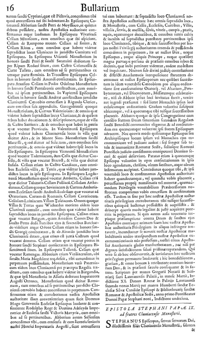 Bullarium Cluniacense p. 016   ⇒ Index privilegiorum