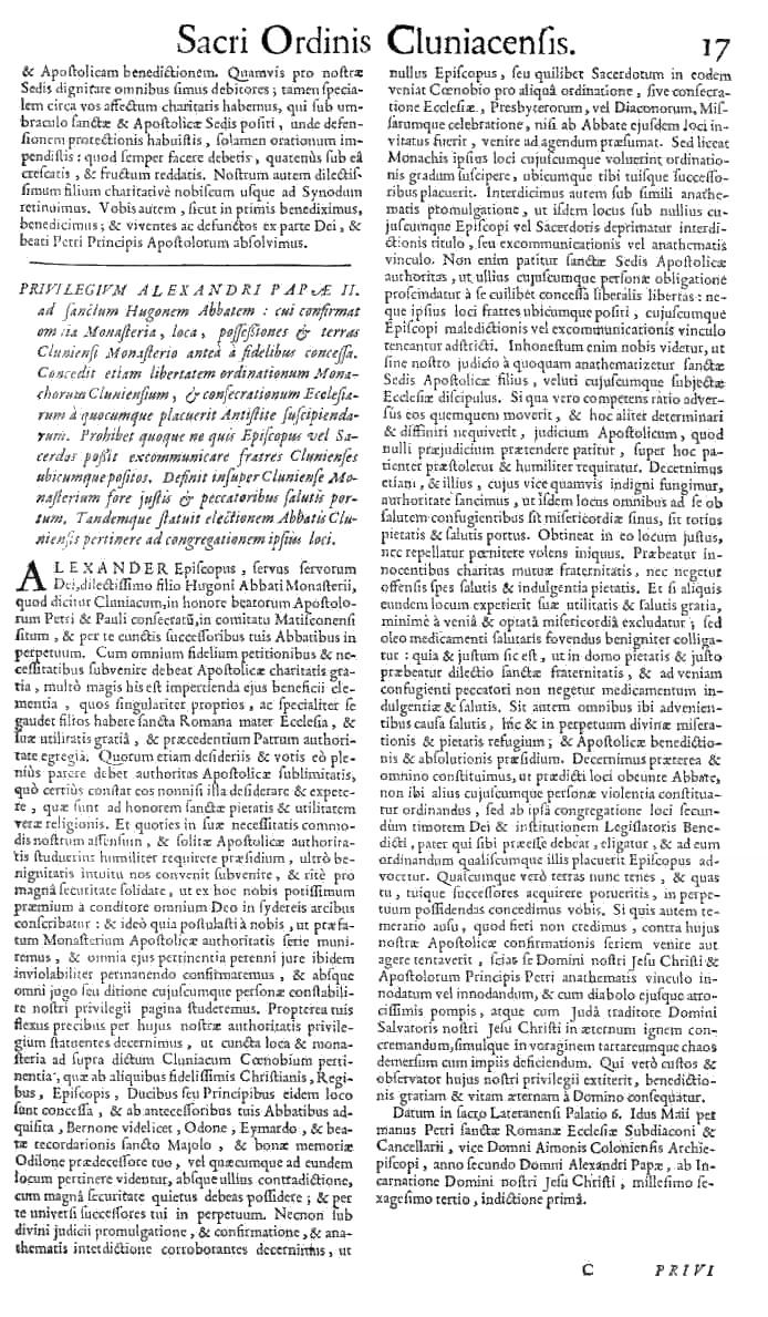 Bullarium Cluniacense p. 017   ⇒ Index privilegiorum