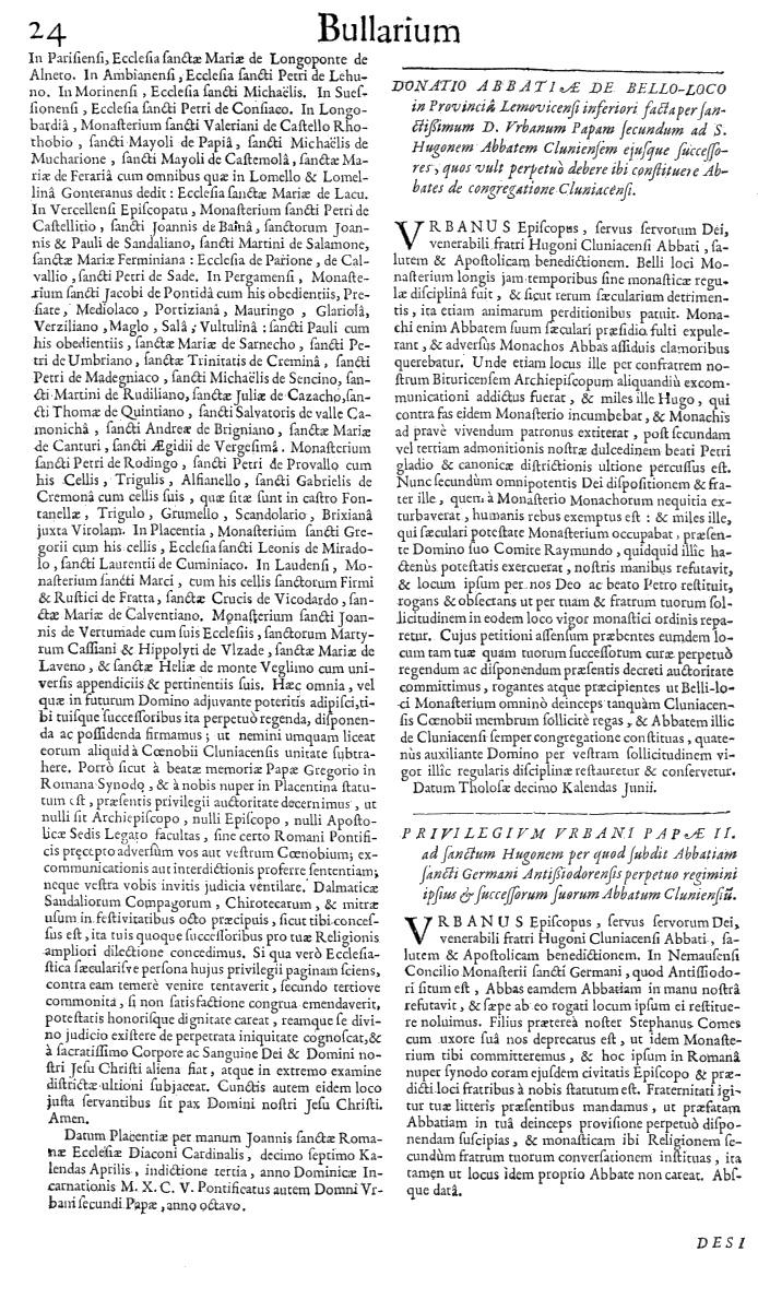 Bullarium Cluniacense p. 024   ⇒ Index privilegiorum