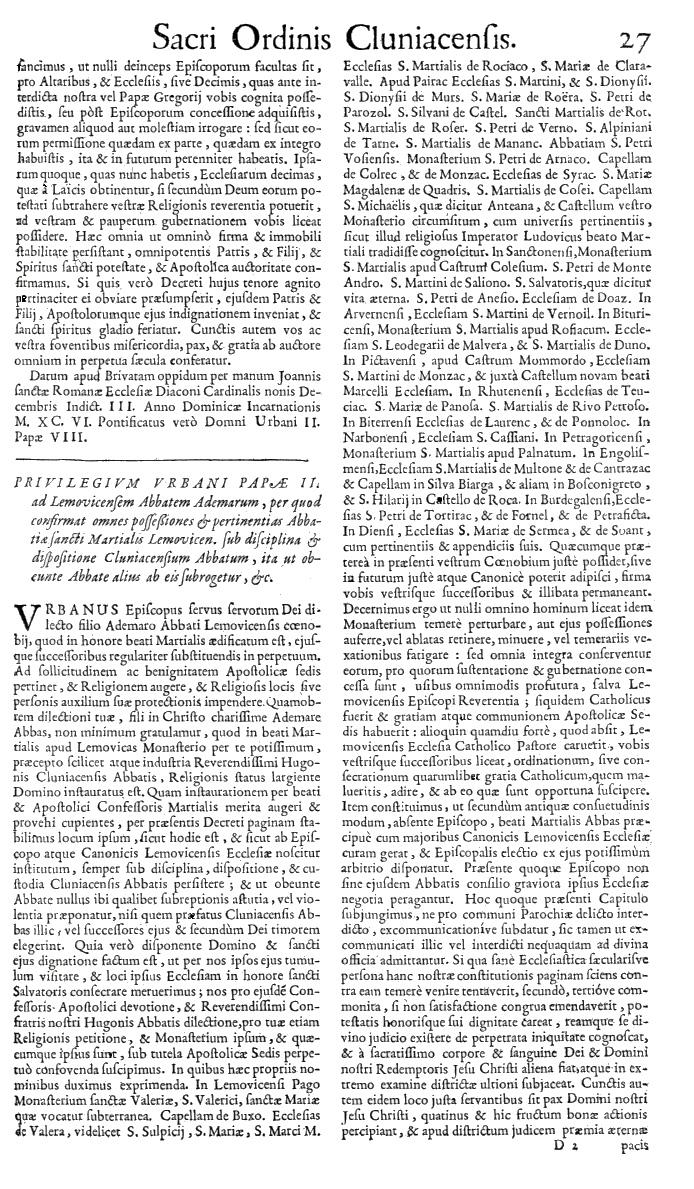 Bullarium Cluniacense p. 027   ⇒ Index privilegiorum