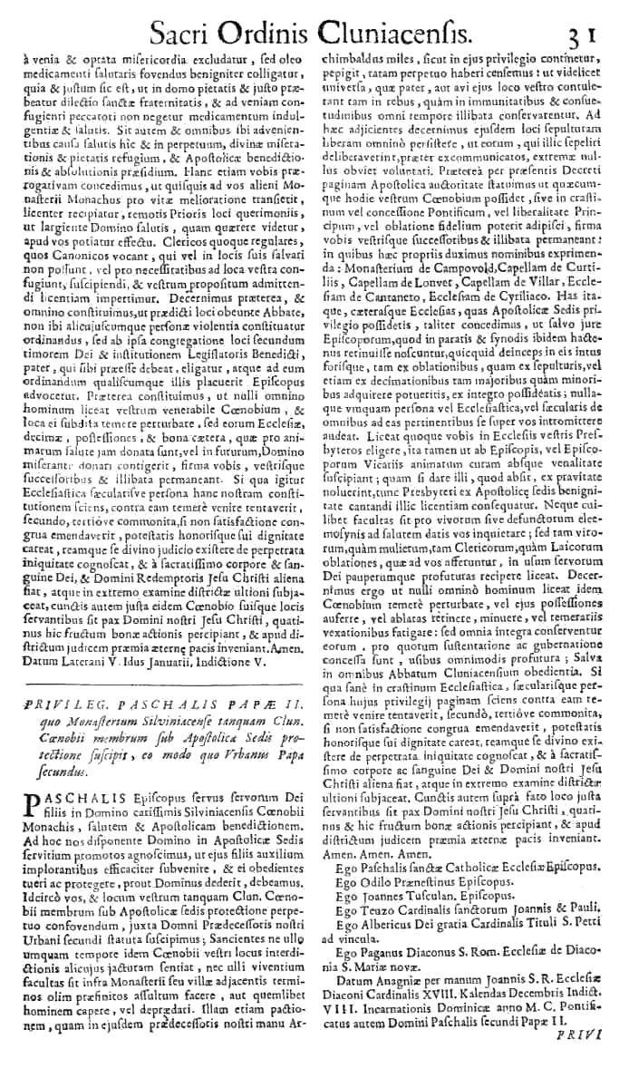 Bullarium Cluniacense p. 031   ⇒ Index privilegiorum