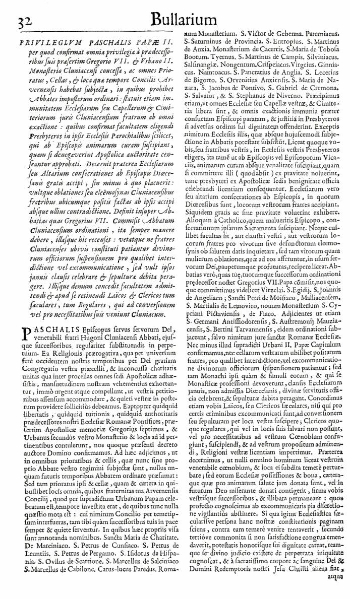 Bullarium Cluniacense p. 032   ⇒ Index privilegiorum