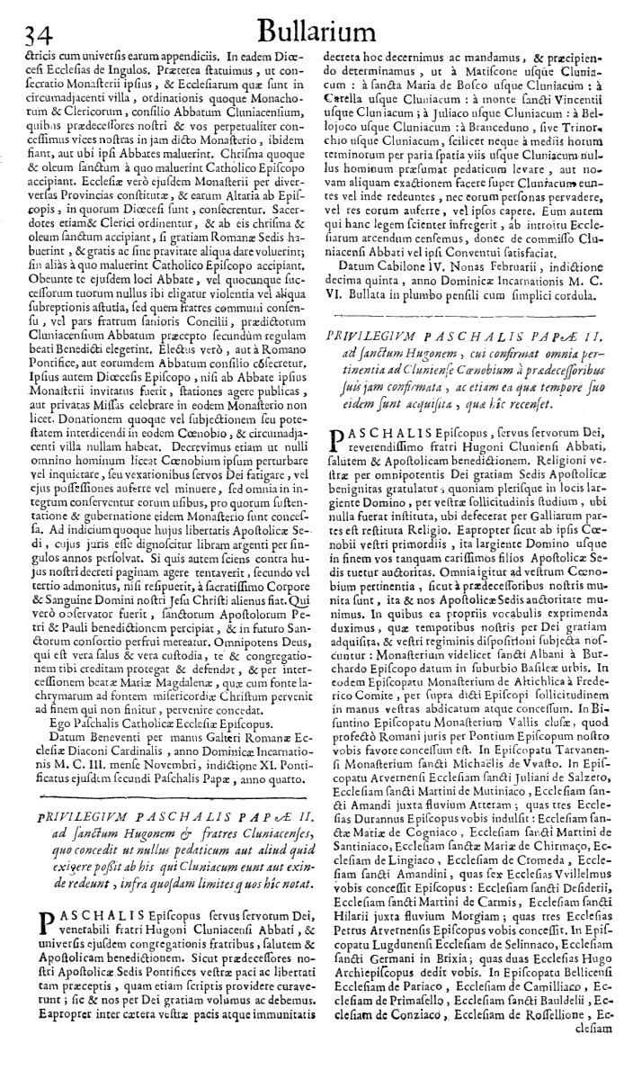 Bullarium Cluniacense p. 034   ⇒ Index privilegiorum