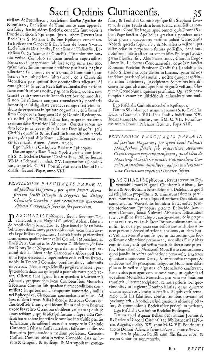 Bullarium Cluniacense p. 035   ⇒ Index privilegiorum