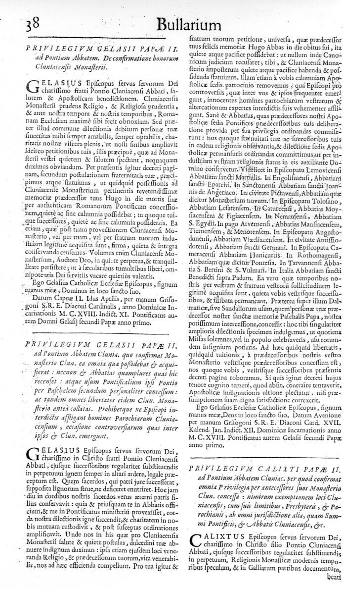 Bullarium Cluniacense p. 038   ⇒ Index privilegiorum