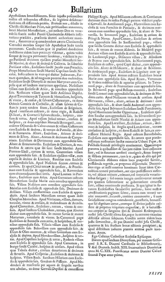 Bullarium Cluniacense p. 040   ⇒ Index privilegiorum