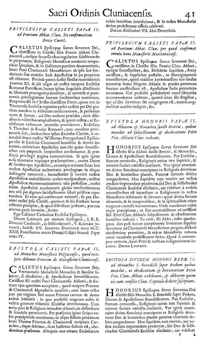 Bullarium Cluniacense p. 041   ⇒ Index privilegiorum