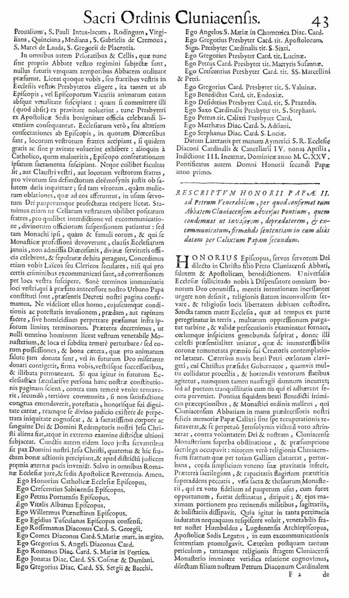 Bullarium Cluniacense p. 043   ⇒ Index privilegiorum