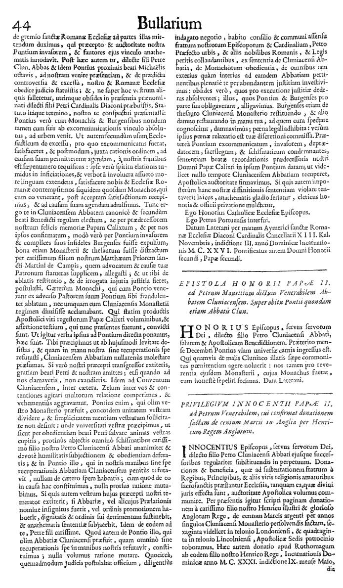 Bullarium Cluniacense p. 044   ⇒ Index privilegiorum