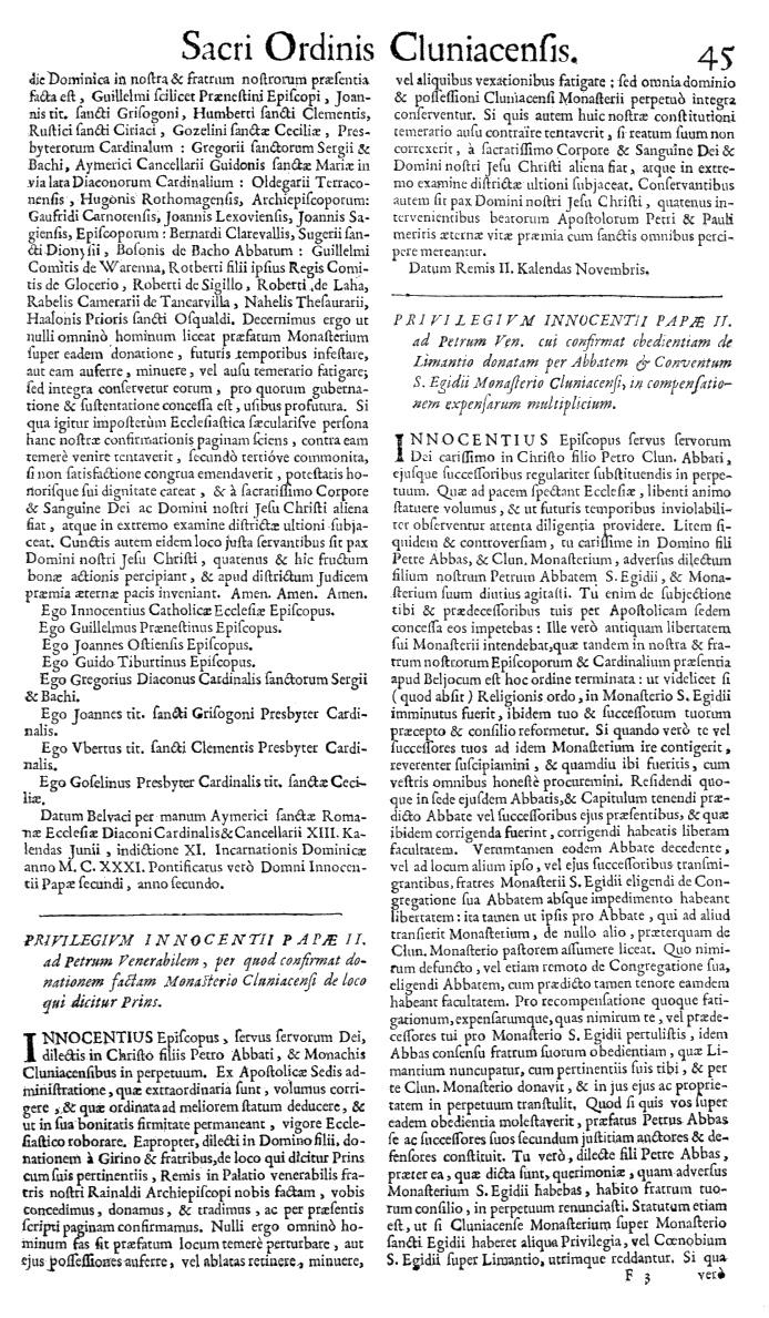 Bullarium Cluniacense p. 045   ⇒ Index privilegiorum