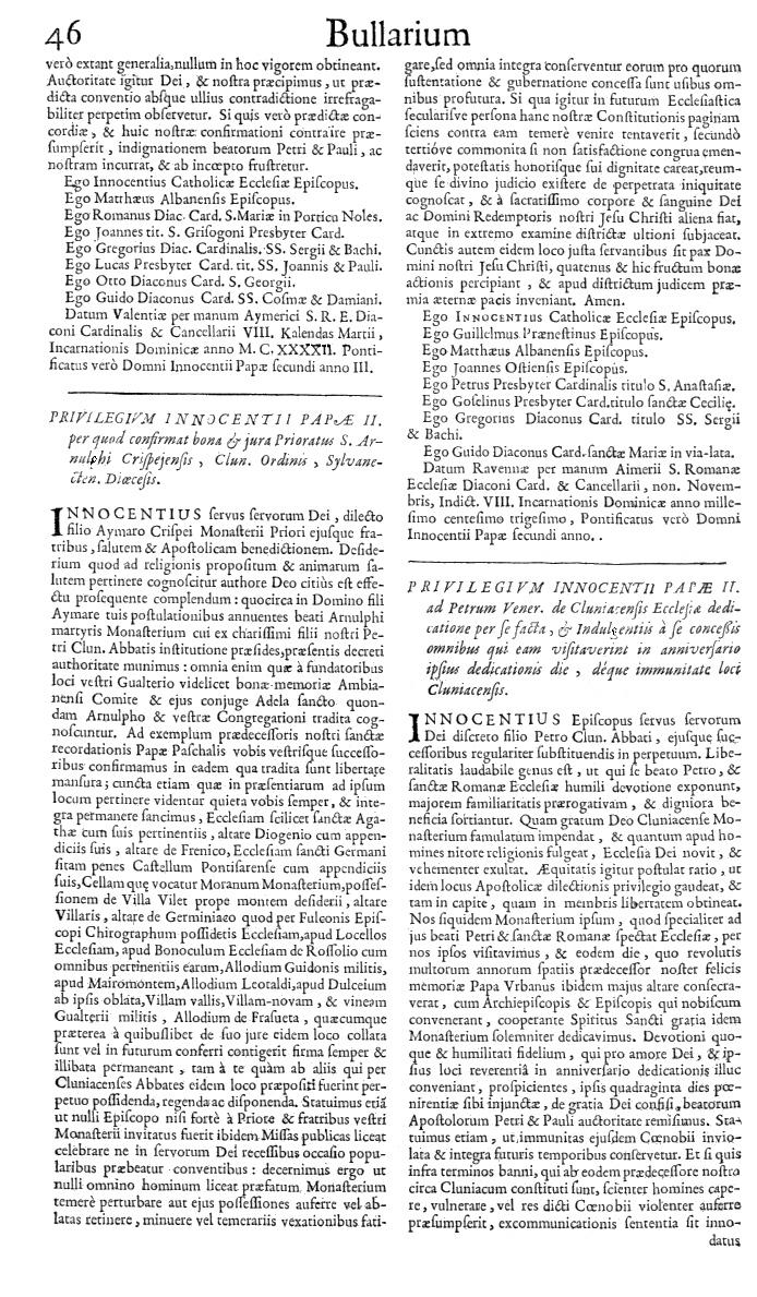 Bullarium Cluniacense p. 046   ⇒ Index privilegiorum