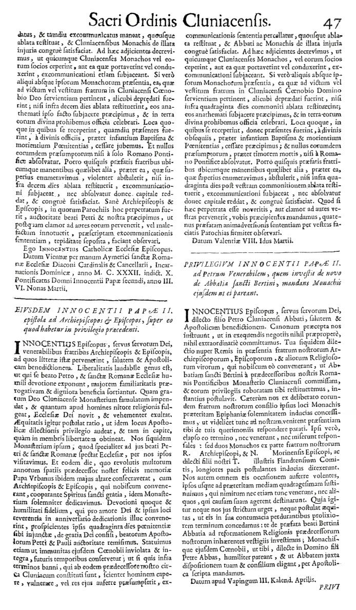 Bullarium Cluniacense p. 047   ⇒ Index privilegiorum