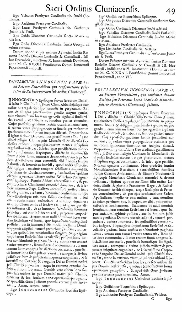Bullarium Cluniacense p. 049   ⇒ Index privilegiorum