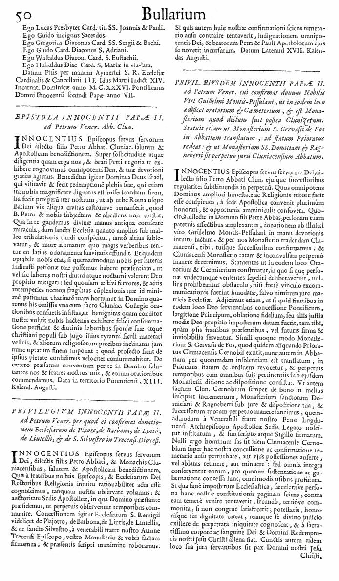 Bullarium Cluniacense p. 050   ⇒ Index privilegiorum