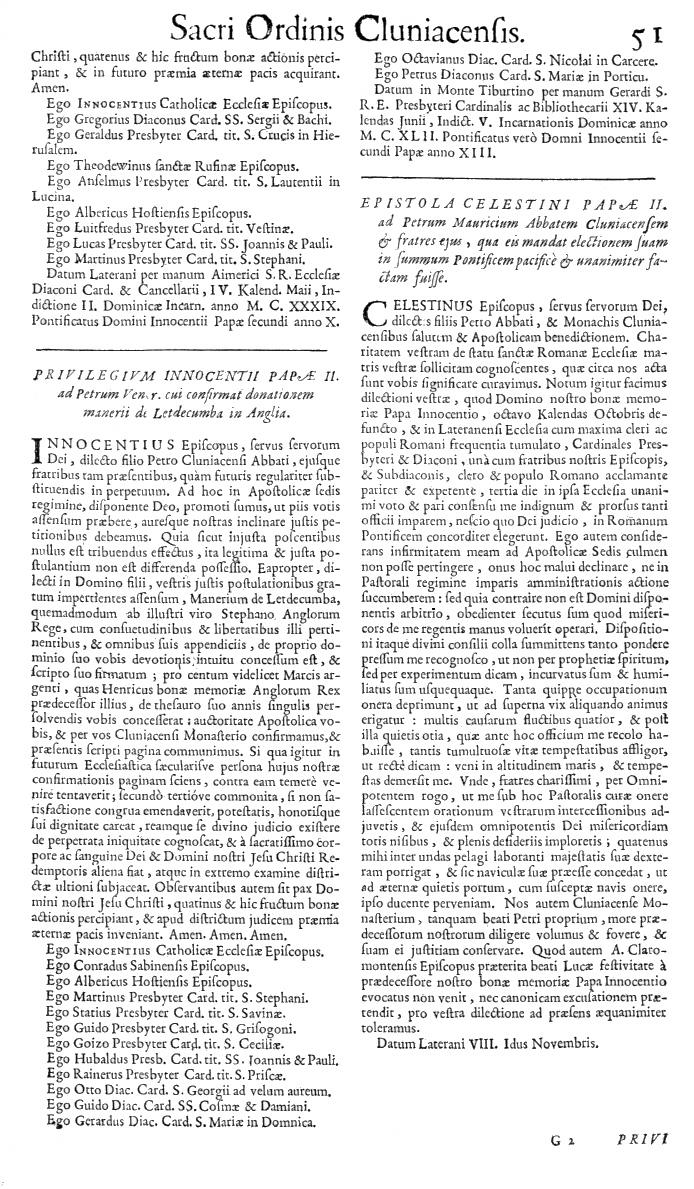 Bullarium Cluniacense p. 051   ⇒ Index privilegiorum