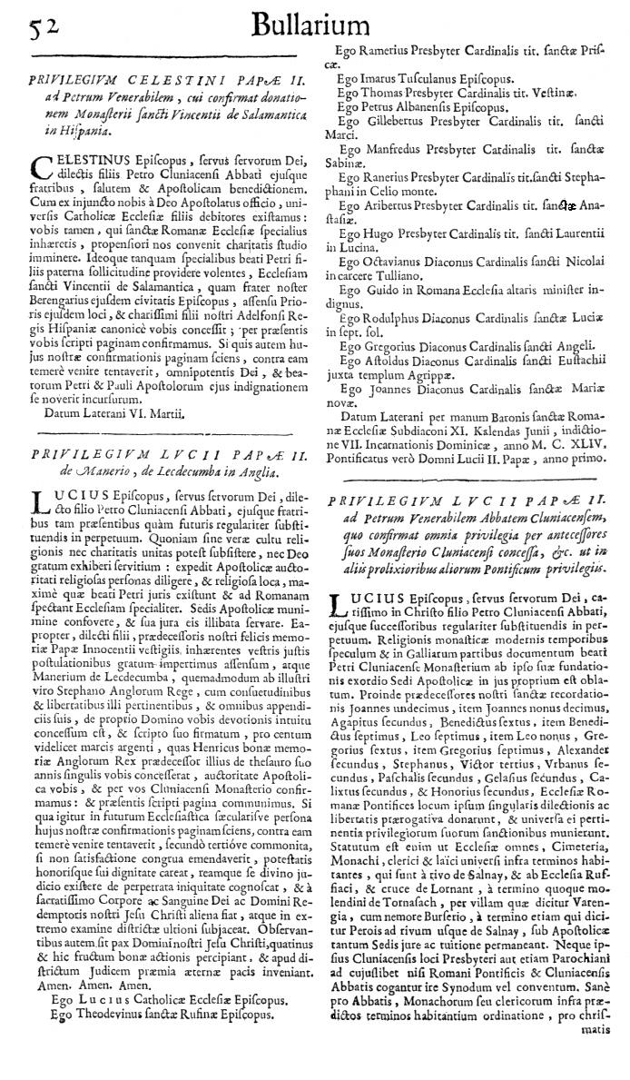 Bullarium Cluniacense p. 052   ⇒ Index privilegiorum