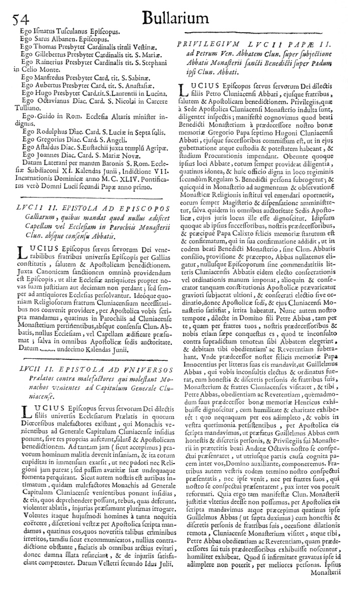Bullarium Cluniacense p. 054   ⇒ Index privilegiorum