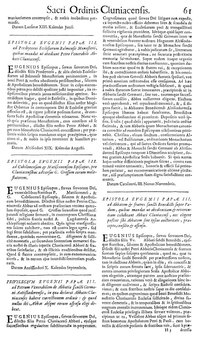 Bullarium Cluniacense p. 061   ⇒ Index privilegiorum