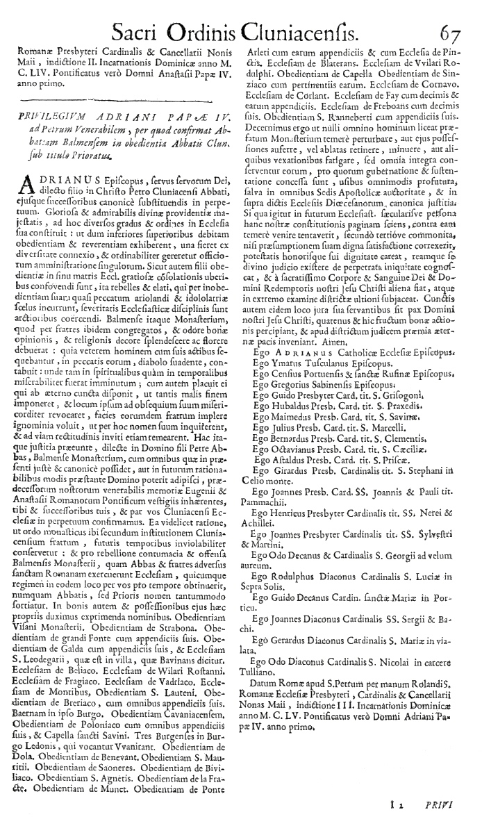 Bullarium Cluniacense p. 067   ⇒ Index privilegiorum