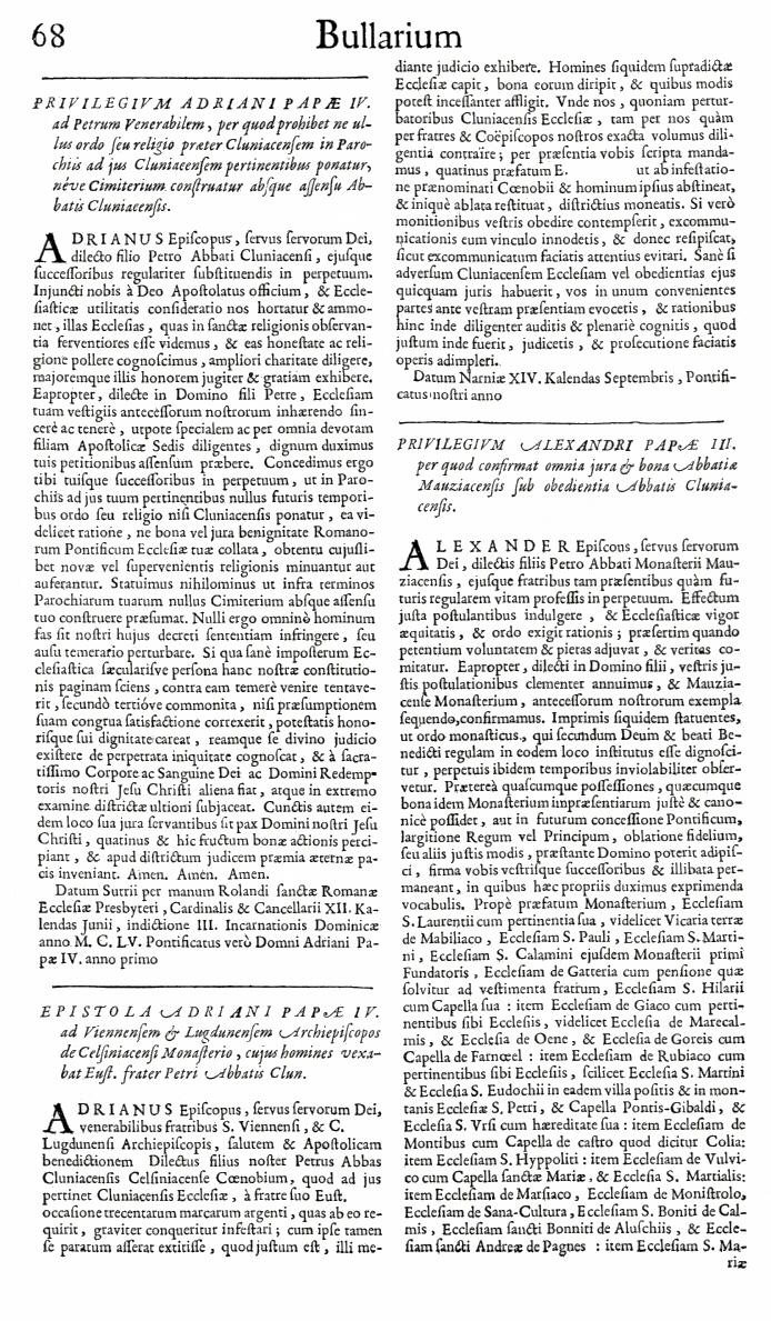 Bullarium Cluniacense p. 068   ⇒ Index privilegiorum