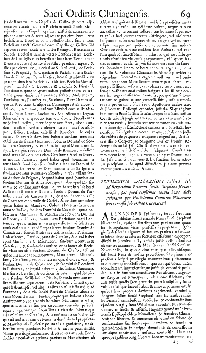 Bullarium Cluniacense p. 069     ⇒ Index privilegiorum
