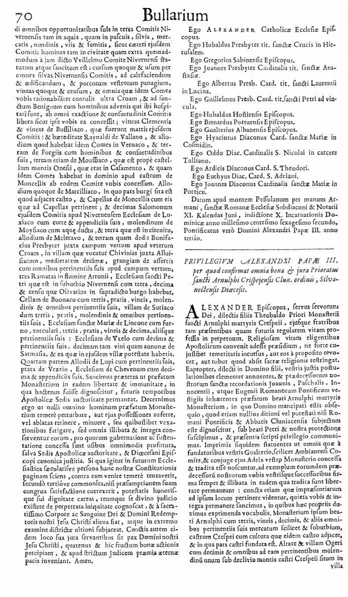 Bullarium Cluniacense p. 070   ⇒ Index privilegiorum