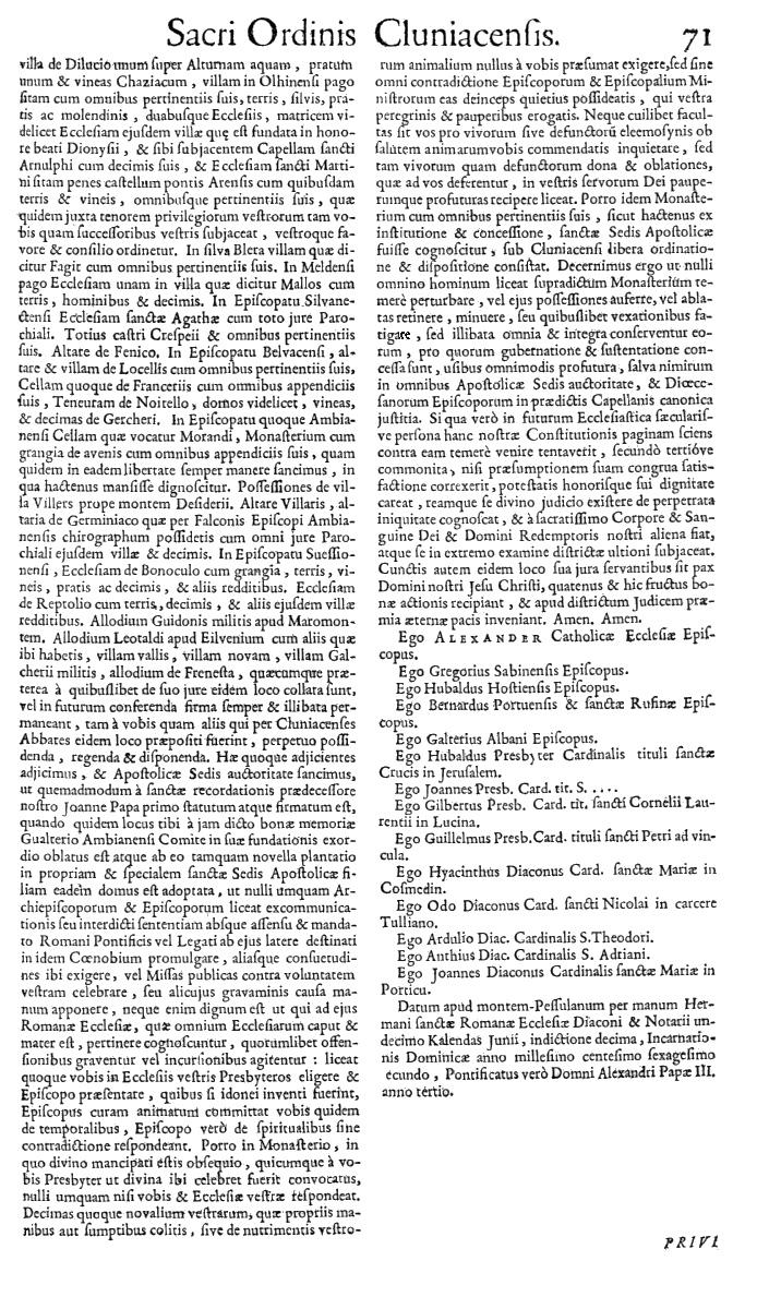Bullarium Cluniacense p. 071   ⇒ Index privilegiorum