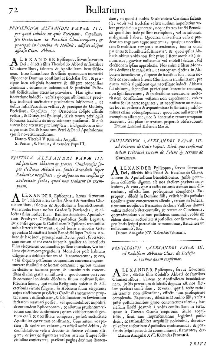 Bullarium Cluniacense p. 072   ⇒ Index privilegiorum