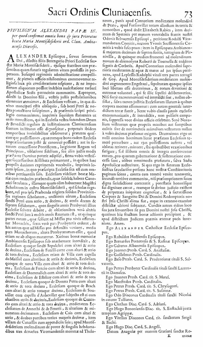 Bullarium Cluniacense p. 073   ⇒ Index privilegiorum