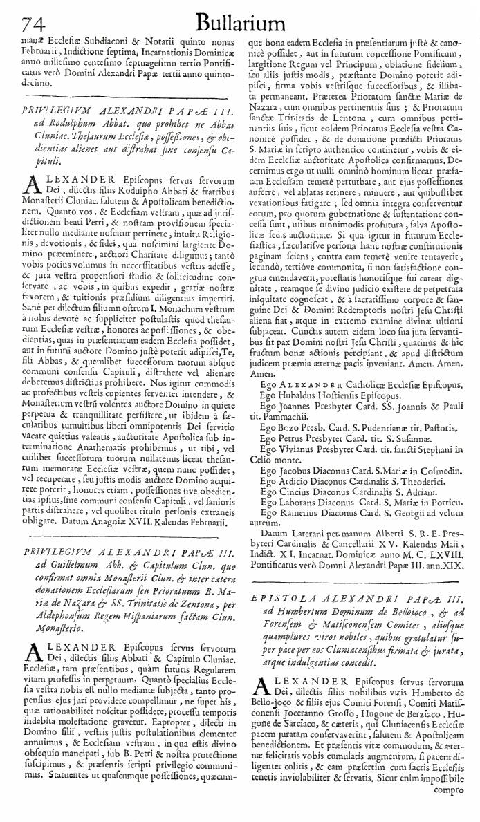 Bullarium Cluniacense p. 074   ⇒ Index privilegiorum