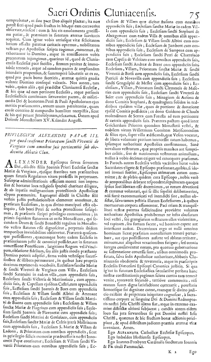 Bullarium Cluniacense p. 075   ⇒ Index privilegiorum