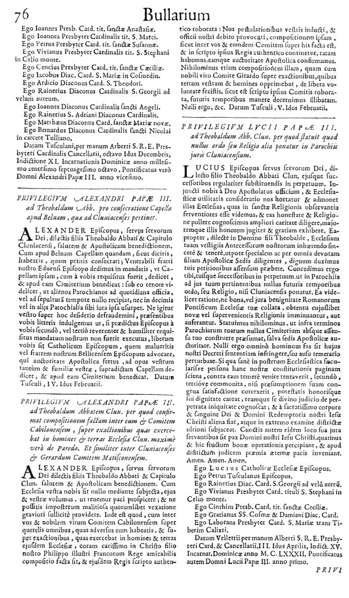 Bullarium Cluniacense p. 076   ⇒ Index privilegiorum