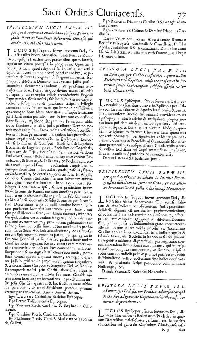 Bullarium Cluniacense p. 077   ⇒ Index privilegiorum