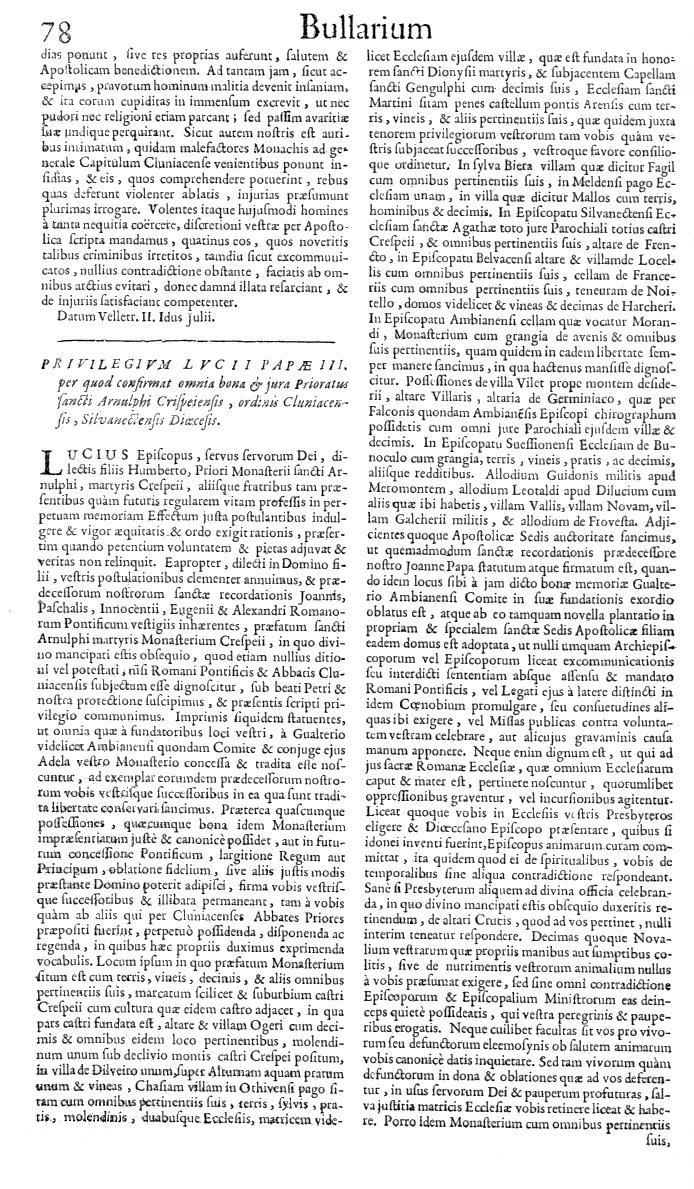 Bullarium Cluniacense p. 078   ⇒ Index privilegiorum