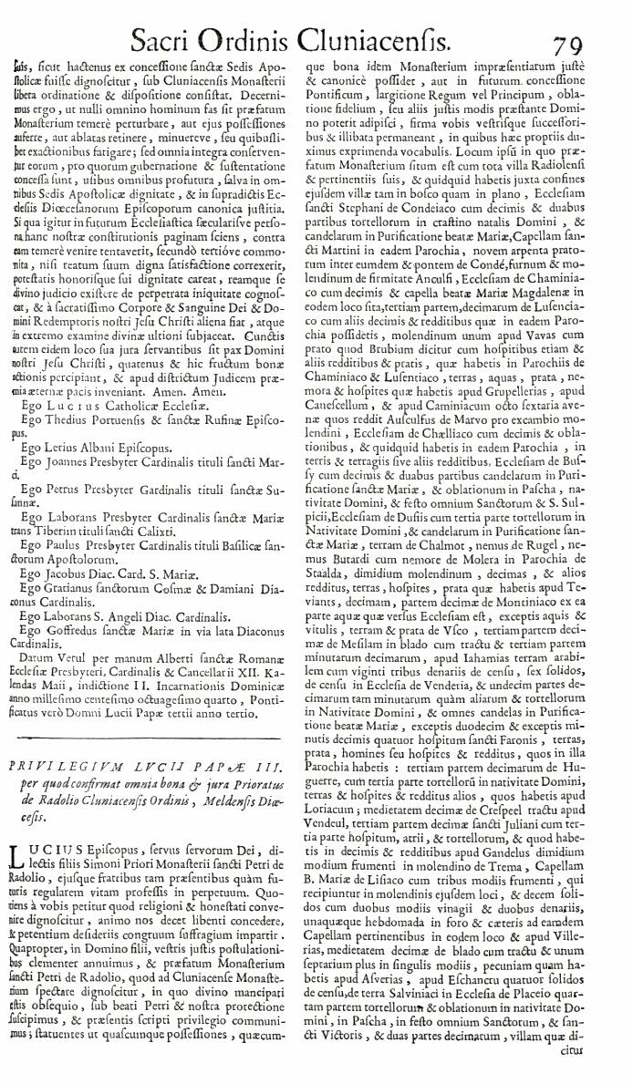 Bullarium Cluniacense p. 079   ⇒ Index privilegiorum