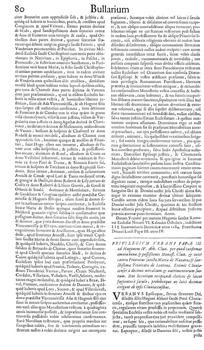 Bullarium Cluniacense p. 080   ⇒ Index privilegiorum