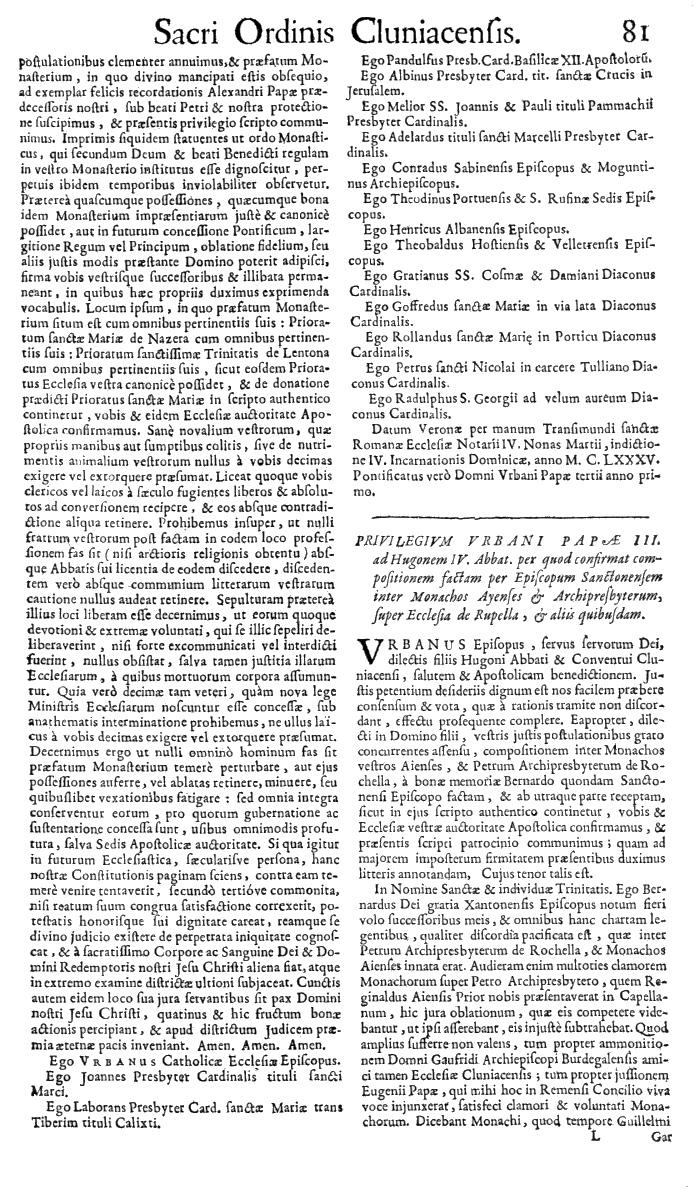 Bullarium Cluniacense p. 081   ⇒ Index privilegiorum