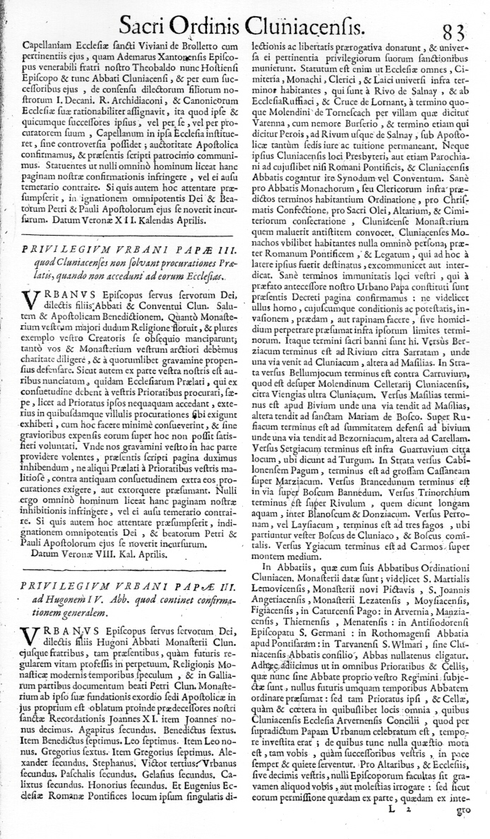 Bullarium Cluniacense p. 083   ⇒ Index privilegiorum