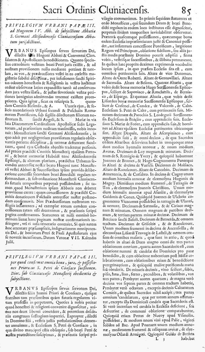 Bullarium Cluniacense p. 085   ⇒ Index privilegiorum